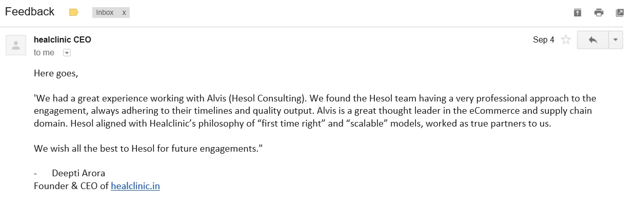 Client feedback for Hesol Consulting