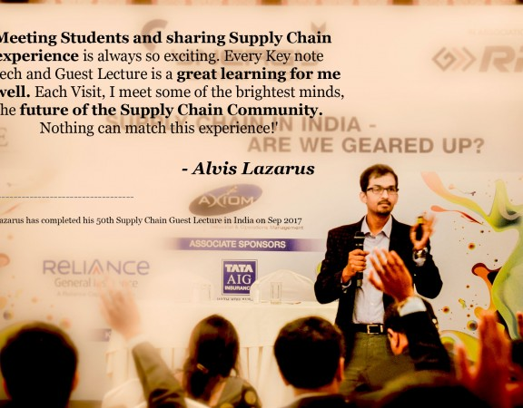 Supply Chain Logistics Ecommerce Guest Lectures and Key note speech by Alvis Lazarus, supply chain consultant - Hesol Consulting